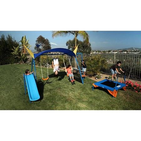 IronKids Inspiration 600 Fitness Playground Metal Swing Set with Trampoline Spinner and UV Protective Sunshade