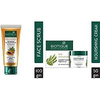 Biotique Papaya Revitalizing Tan Removal Scrub, 100 g and Biotique Bio WheatGerm Youthful Nourishing Night Cream For Normal To Dry Skin, 50 g