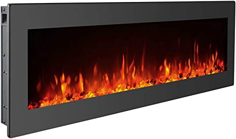 Gmhome 50 Inches Electric Fireplace Wall Mounted Heater Freestanding Fireplace Crystal Stone Flame 9 Changeable Color Fireplace Remote Control 1500w Black Kitchen Dining