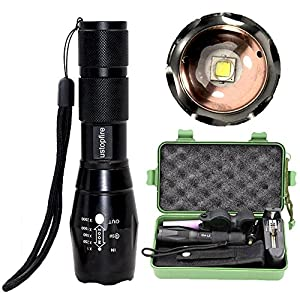 ustopfire Super Bright 2000 lumens XM-L2 Handheld Flashlight, 5 Mode Tactical Zoomable Adjustable Focus Flashlight ,Water Resistant Flashlight Torch with Battery and Charger and 360° clamp