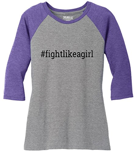 - Fight Like a Girl Hashtag Ladies' Tri-Blend Baseball-Style Raglan T-Shirt Grey w/Purple [3X]
