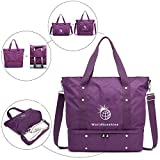 World Sunshine Travel Tote Bag Weekender Carry On Lightweight Waterproof Bottom Compartment Purple