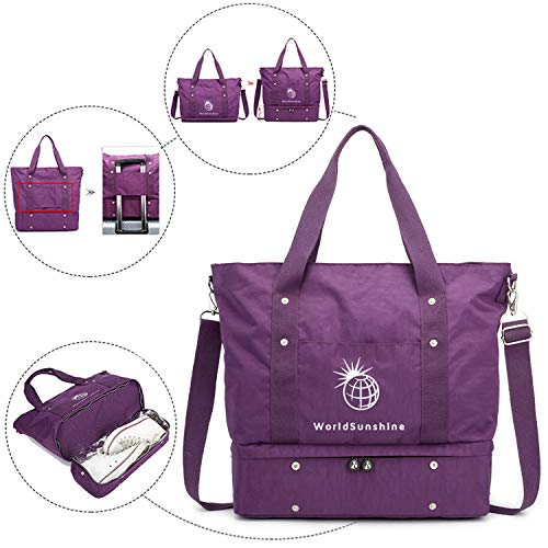 World Sunshine Travel Tote Bag Weekender Carry On Lightweight Waterproof Bottom Compartment Purple ()