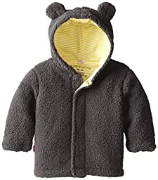 Magnificent Baby Unisex-Baby Infant Fleece Bear Jacket, Ash/Lemon, 0-6 Months