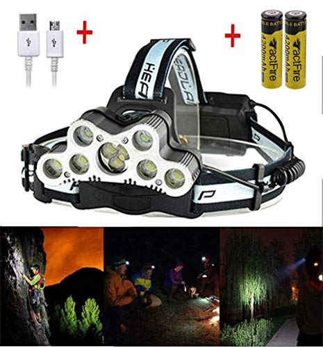(WOODY'S HARMONY 200000LM 9LED Headlamp USB Rechargeable 18650 Headlight Torch Lamp + Battery US )