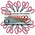 "Best Scissors - (HUGE 10 PACK) - 8"" Stainless Steel Blades - Buy In Bulk & Save - Perfect for Shears for Cutting Paper, Thread, Fabric, or Any Household Projects from BEST"