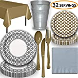 Disposable Tableware, 32 Sets - Silver and Gold - Quatrefoil Dinner Plates, Scallop Dessert Plates, Cups, Lunch Napkins, Cutlery, and Tablecloths: Premium Quality Party Supplies Set