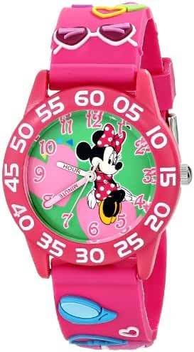 Disney Kids' W001520 Time Teacher Minnie Mouse Watch with Pink 3-D Band