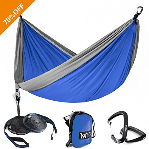 ngle Camping Hammock With Tree Straps - Lightweight Nylon Portable Hammock, Best Parachute Double Hammock For Backpacking, Camping, Travel, Beach, Yard Blue/Grey, 55