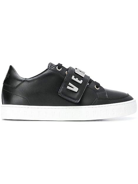 Versus Versace Mujer Fsx042cfvlnf460n Negro Cuero Zapatillas: Amazon.es: Zapatos y complementos