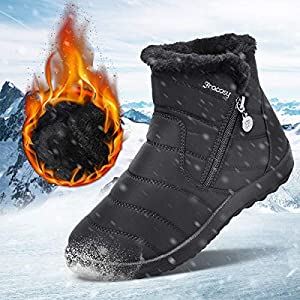 gracosy Womens Snow Boots Winter Waterproof Ankle Boots Ladies Flat Slip On Snowshoe Boots Comfy Fur Lined Warm Ankle…