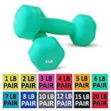 Day 1 Fitness Neoprene Dumbbell Pairs 6 Pounds - Non-Slip, Hexagon Shape, Color Coded, Easy to Read Hand Weights for Muscle Toning, Strength Building, Weight Loss Larger Image