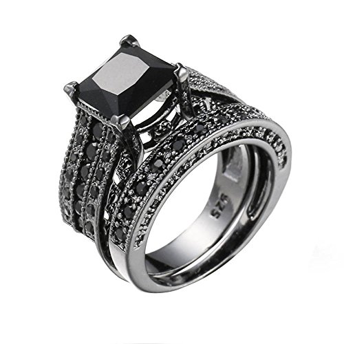WensLTD 2-in-1 Womens Vintage White Diamond Silver Engagement Wedding Band Ring Set