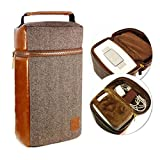Tuff-Luv Herringbone Tweed NFC Travel Case for Bose SoundTouch 10 with Leather Trim - Brown