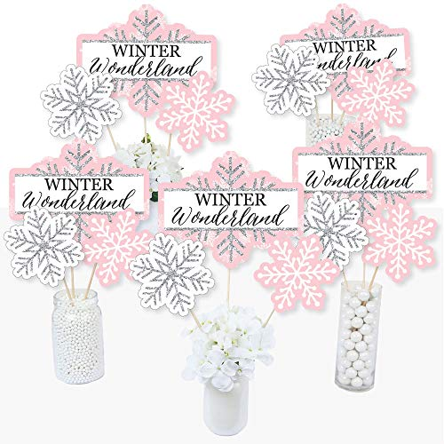 (Pink Winter Wonderland - Holiday Snowflake Birthday Party or Baby Shower Centerpiece Sticks - Table Toppers - Set of)