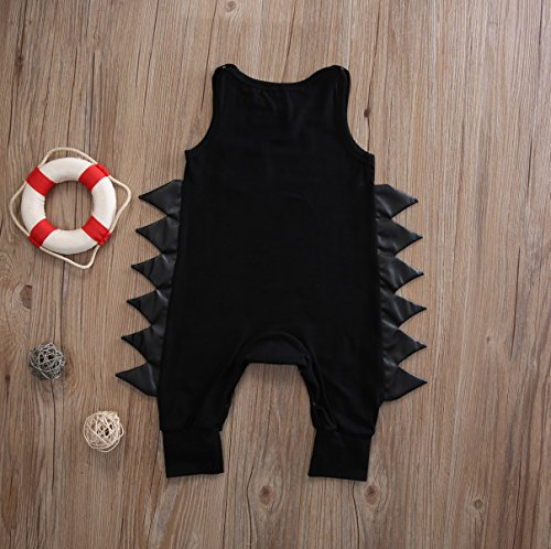 Baby Boys Girls Cotton Sleeveless Dinosaur Harem Bodysuit Romper Jumpsuit (90(12-18M), Black)