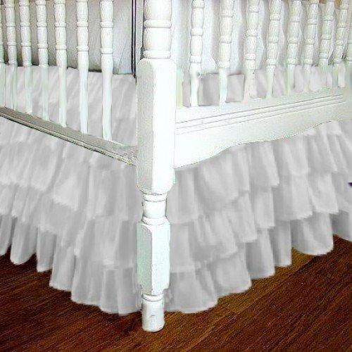 White Chiffon Layered Ruffle Mini Crib Skirt 3 sided 16 Inch Drop