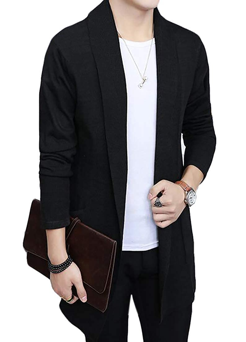 BU2H Men Casual Solid Shawl Collar Open Front Knitted Cardigan Sweater