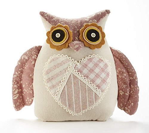 Delton Produts Owl Door Stop with 9 Inches Heart Accent Stuffed Animals Pink