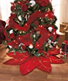 Red Poinsettia Christmas Tree Skirt