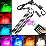 WEISIJI Car LED Strip Light,72Leds DC 12V 4Pcs LED Underdash Lighting Kits Car Interior Music Light with Sound Active Function and Wireless Remote Control