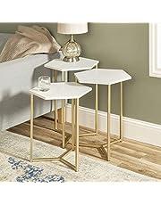 WE Furniture AZF16HEX3WM Modern Hexagon Nesting Side End Table Set Living Room, Set of 3, White Marble, Gold