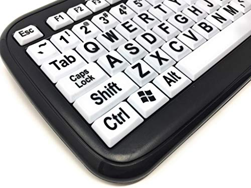 EZSee by DC: New and Improved - Large Print Computer Keyboard Wired USB  White Keys with Black Jumbo Oversized Print Letters with Black Frame  Improve