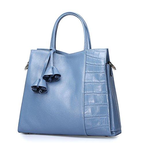 Main Bleu Cuir Q0714 Femme Epaule Sac À Souple E Clair Bandouliere girl xwI0vqqU1