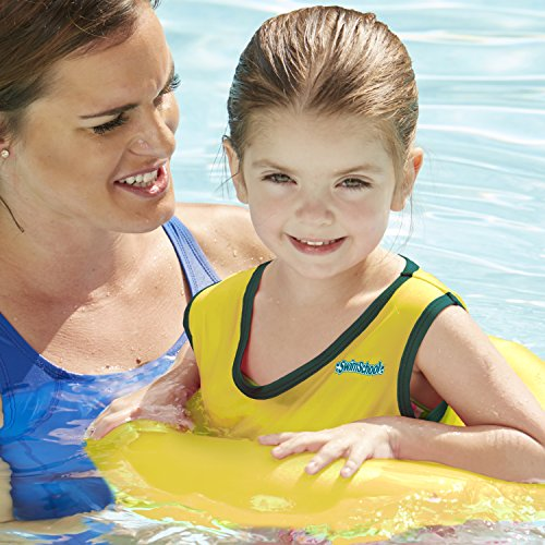 (SwimSchool Deluxe TOT Swim Trainer Vest, Heavy Duty, Inflatable Swim Float with Adjustable Safety Strap, 2-4 Years, Yellow/Berry)