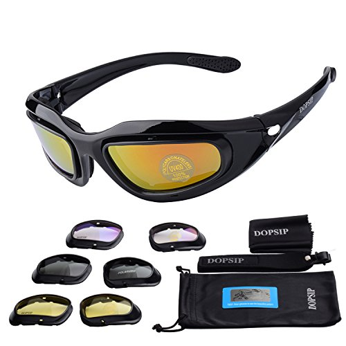 Tactical Glasses,DOPSIP Cycling Glases Protective Military Goggle with 4 Replaceable Lenses (Black) by DOPSIP