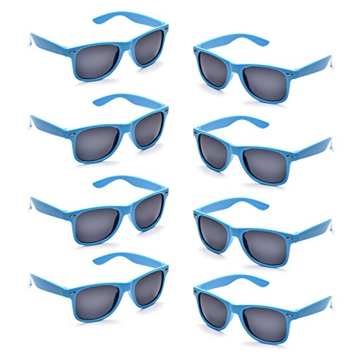 Neon Colors Party Favor Supplies Unisex Sunglasses Pack of 8 (Blue)