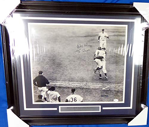 Yogi Berra & Don Larsen Signed Framed 16x20 Photo New York Yankees - JSA ()