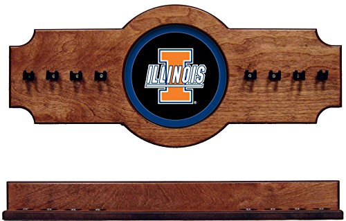 NCAA Illinois Fighting Illini ILLCRR200-P 2 pc Hanging Wall Pool Cue Stick Holder Rack - Pecan