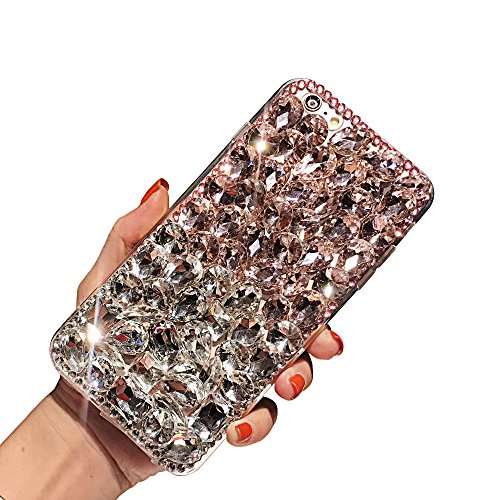Six Gemstone (iPhone 6 Plus Case, iPhone 6s Plus Diamond Cover, TIPFLY 3D Luxury Handmade Diamond Rhinestone Case, Glitter Bling Sparkle Gemstone Soft TPU Case for Apple iPhone 6 Plus/6s Plus -Pink white)