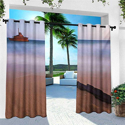leinuoyi Shipwreck, Outdoor Curtain Waterproof, Shipwreck on Beach at Dusk in South Australian Lands by Sea Shore Navy Nautical, for Patio W72 x L108 Inch Multicolor