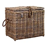 Minki Home Rattan Storage Trunk, Grey Kubu Rattan Premium Type Of Wicker