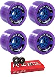 85mm Seismic Skate Systems Speed Vent BlackOps Longboard Skateboard Wheels with Bones Bearings - 8mm Bones Super REDS Skate Rated Skateboard Bearings - Bundle of 2 items