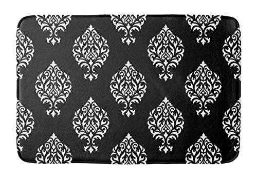 - Yesstd Damask Ornamental White on Black Absorbent Super Cozy Bathroom Rug Doormat Welcome Mat Indoor/Outdoor Bath Floor Rug Decor Art Print with Non Slip Backing 24