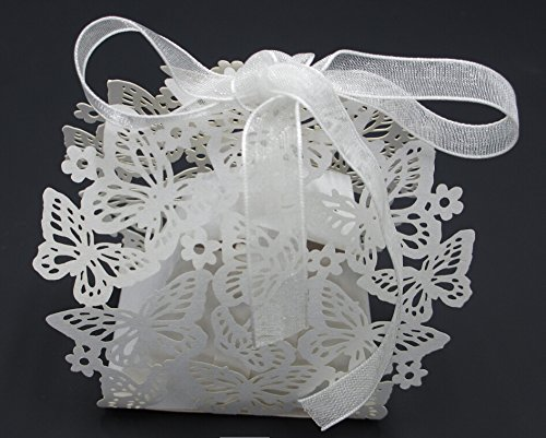 Saitec ® 50 Pack Laser Cut Butterfly Wedding Favor Box Bi...