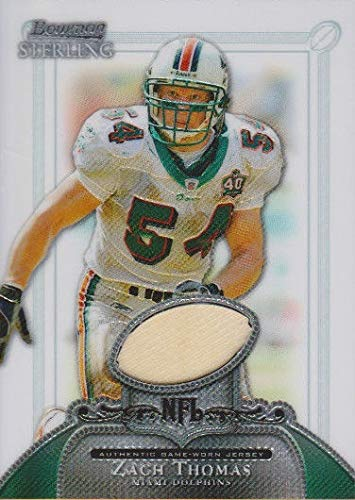 Zach Thomas player worn jersey patch football card (Miami Dolphins) 2006 Bowman Sterling #BSZT