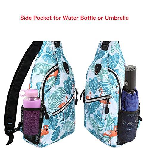 MOSISO Sling Backpack, Polyester Crossbody Shoulder Bag for Men Women Girls Boys, Flamingo by MOSISO (Image #2)