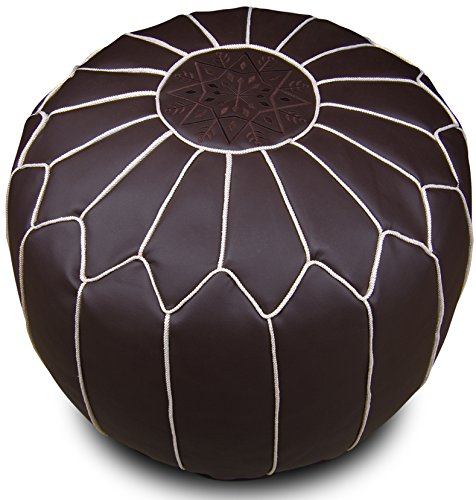 Moroccan pouf Ottoman large Brown Leather Footstool style Brown White Stitching unstuffed gift