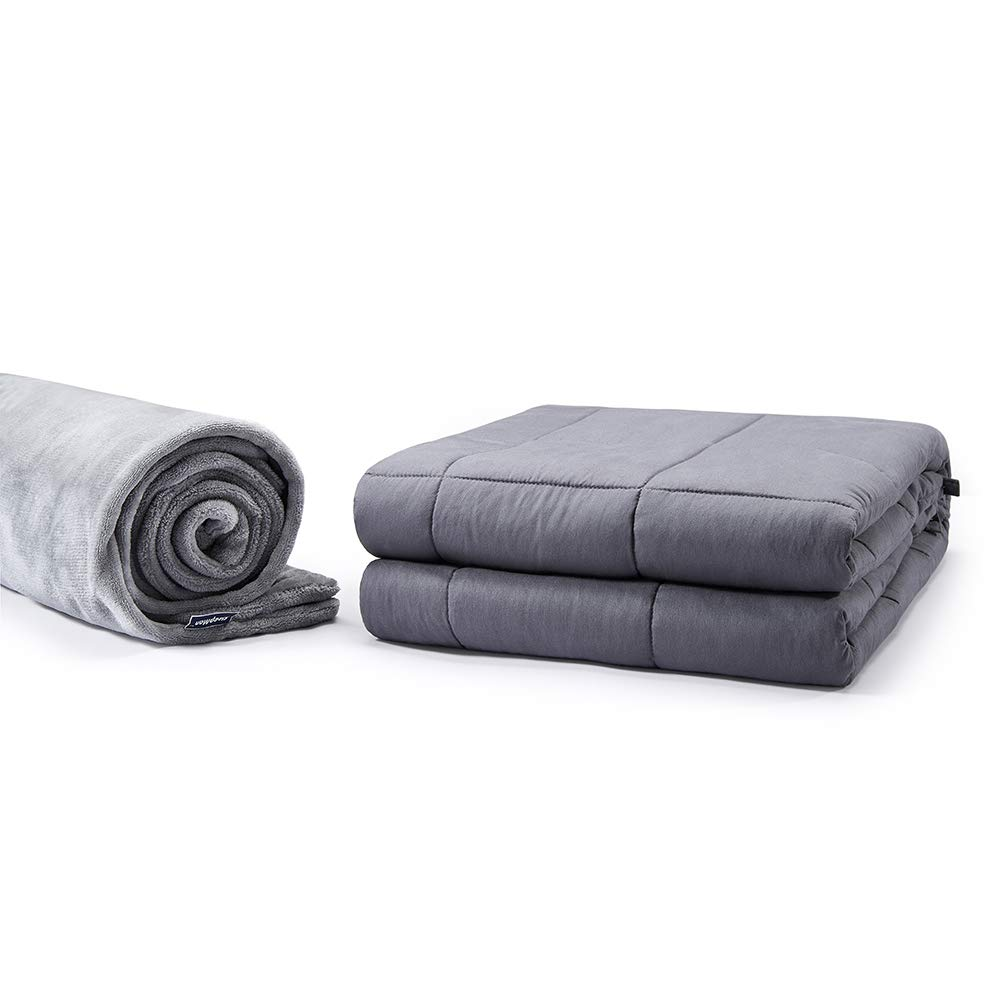 SleepMan Cotton Weighted Blanket with Glass Beads for Adult Heavy Blanket with Removable Cover Between 130-170 lbs Individual(48'' x 72'' 15LB, Grey Set)