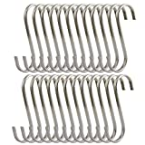 25 Pack 3 inch Flat S Hooks Heavy Duty Solid 304 Stainless Steel S Shaped Hanging Hooks,Metal Kitchen Pot Pan Hangers Rack Hooks