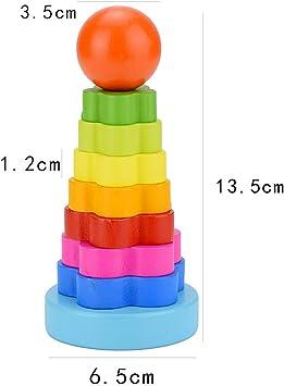 Plastik Stapelturm Scheibenturm Stapeln Bausteine mit 7 Regenbogen Ringen