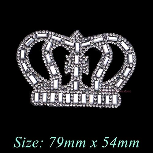 BeesClover 1PC Crown Rectangle Beads Iron On Hotfix Rhinestones Patches Motif Women Crystal Glass Hot fix Bride Wedding Dress Clothes ()