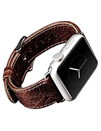 Apple Watch Band,iitee Genuine Leather Strap Wristband Replacement Band with Adapters&Metal Clasp for Apple Watch Sport&Edition iWatch (38mm vintage brown)