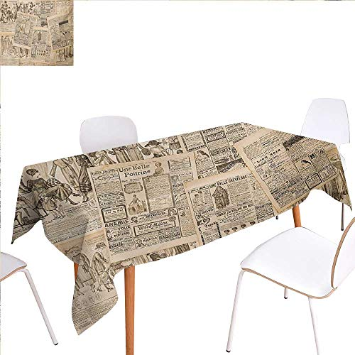 (familytaste Antique Washable Tablecloth Newspaper Pages with Advertising and Fashion Magazine Woman Edwardian Publicity Image Waterproof Tablecloths 52