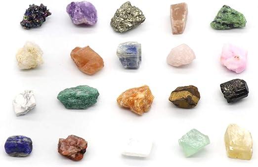 BigBig Style Cristallo di Quarzo Naturale Pietra di guarigione Fluorite Colorata 20 pz//Set Collezione di Rocce e minerali Geologia Cristalli di Istruzione Campioni di minerali minerali Naturali