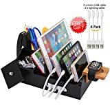Bamboo Charging Station Organizer for Multiple Devices iPhone iPad Tablet Watch, Office Desktop Docking Stations (Include 4 x Charging Cable), Storage Box Stand for Pen,Key,Knife - Pezin & Hulin